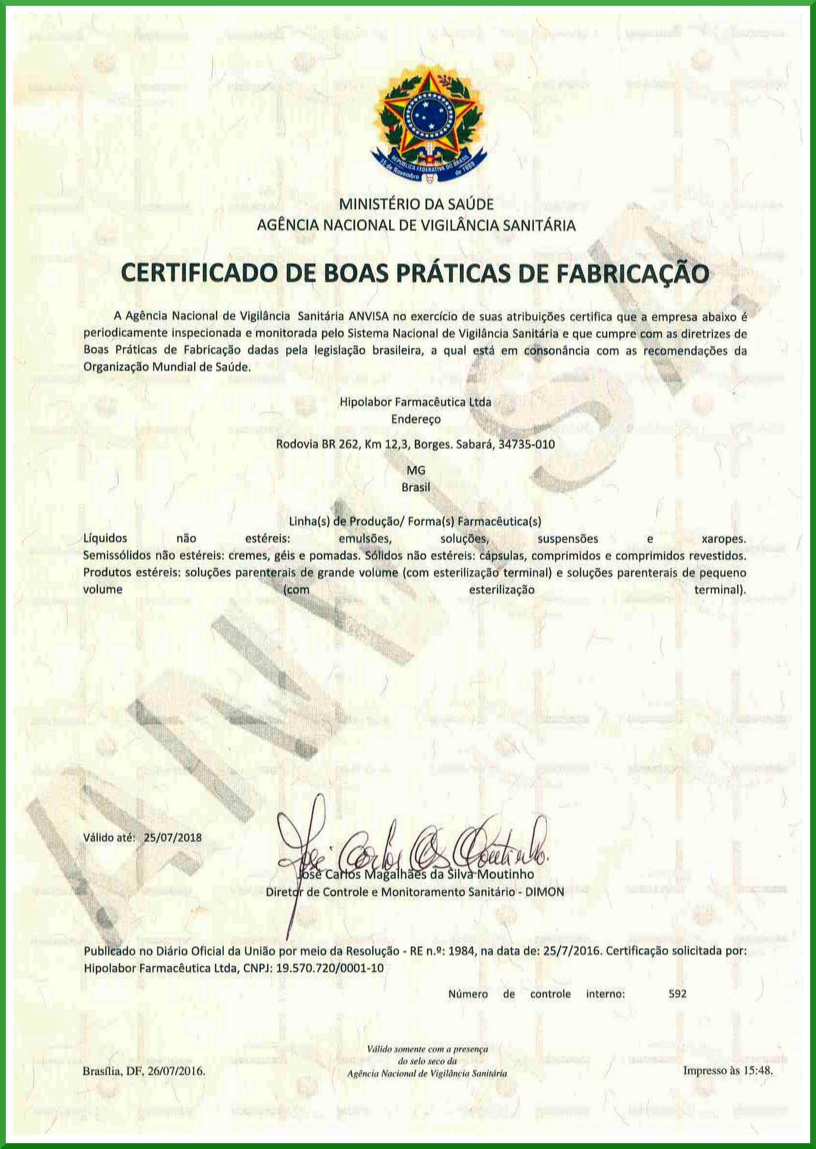 Certificado BPF 2016
